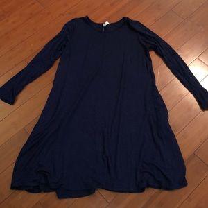 Navy long sleeve tunic dress